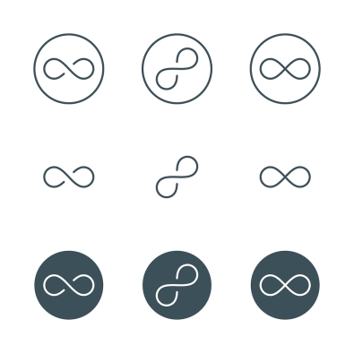 thin line infinity symbol or sign. infinity logo concept in modern flat outline style. linear infinity icon. limitless symbol. infinite sign. isolated on white background. vector illustration